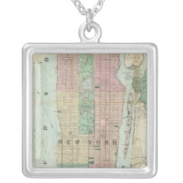 Map of New York and Vicinity Silver Plated Necklace