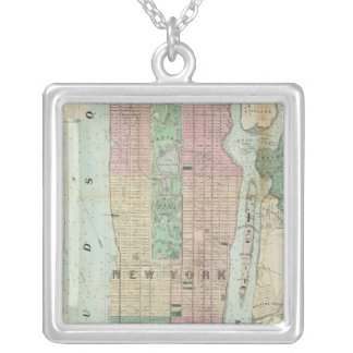 Map of New York and Vicinity Square Pendant Necklace