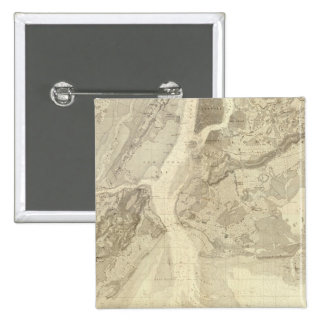 Map of New York Bay And Harbor And The Environs Pinback Button