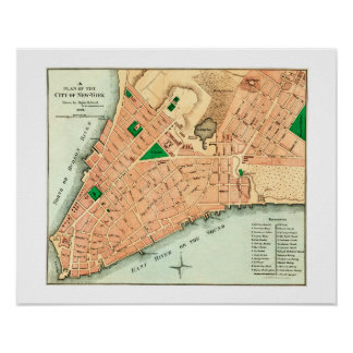 Map of New York City's original layout from 1776 Poster