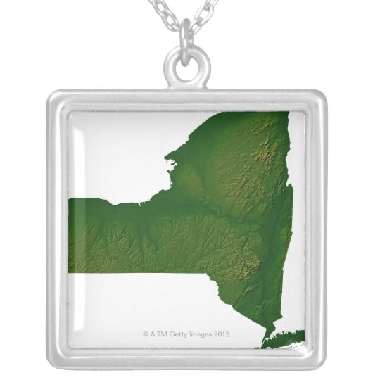 Map of New York State Silver Plated Necklace