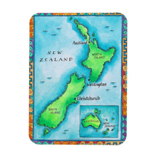 Map of New Zealand 2 Flexible Magnets