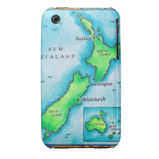 Map of New Zealand 2 iPhone 3 Cover