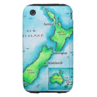 Map of New Zealand 2 iPhone 3 Tough Cases