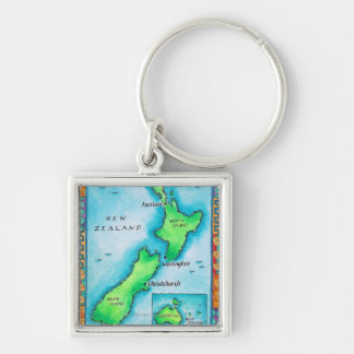 Map of New Zealand 2 Keychain