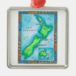 Map of New Zealand 2 Square Metal Christmas Ornament
