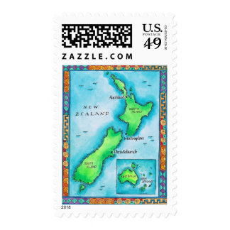 Map of New Zealand 2 Postage Stamps