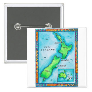 Map of New Zealand Button