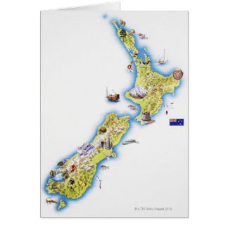 Map of New Zealand Card