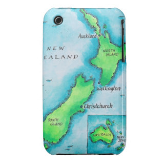 Map of New Zealand Case-Mate iPhone 3 Cases