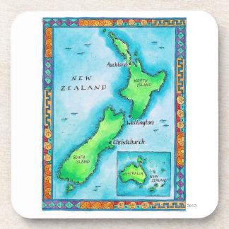 Map of New Zealand Beverage Coasters