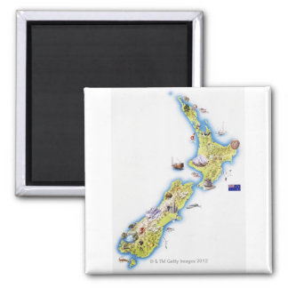Map of New Zealand Refrigerator Magnet