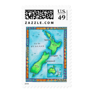 Map of New Zealand Stamp