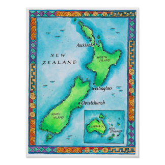 Map of New Zealand Poster