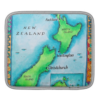 Map of New Zealand Sleeve For iPads