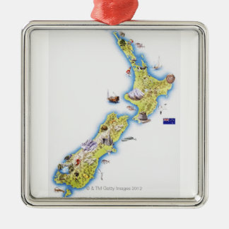 Map of New Zealand Square Metal Christmas Ornament