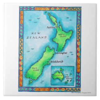 Map of New Zealand Tile