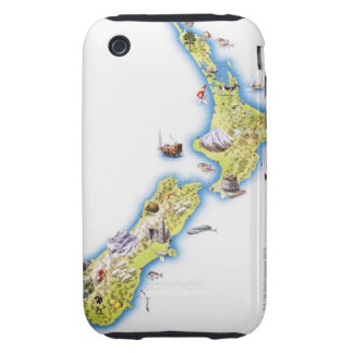 Map of New Zealand Tough iPhone 3 Cover