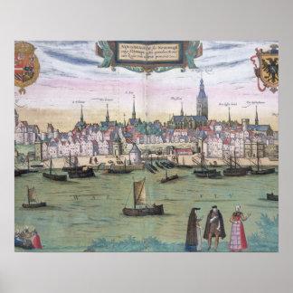 Map of Nijmegen, from 'Civitates Orbis Terrarum' b Poster