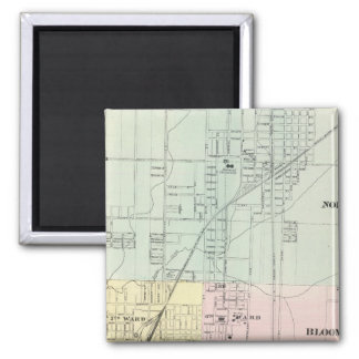 Map of Normal, Bloomington 2 Inch Square Magnet