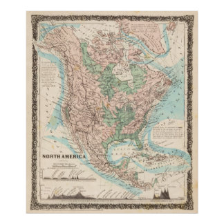 Map of North America (1859) Poster