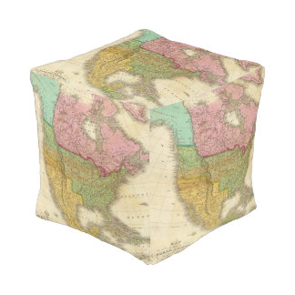Map of North America 3 Cube Pouf