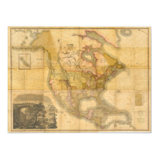 Map of North America by Henry Schenck Tanner 1822 Card