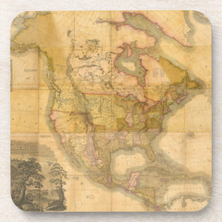 Map of North America by Henry Schenck Tanner 1822 Drink Coaster