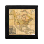 Map of North America by Henry Schenck Tanner 1822 Jewelry Boxes