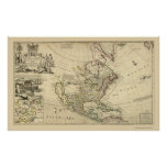 Map of North America by Herman Moll 1715 Poster