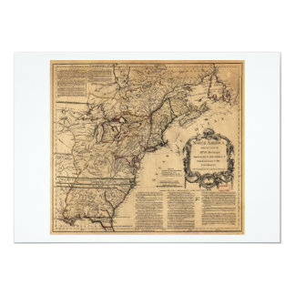 Map of North America by Jefferys & Anville (1755) 5x7 Paper Invitation Card