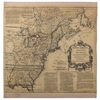 Map of North America by Jefferys & Anville (1755) Napkin