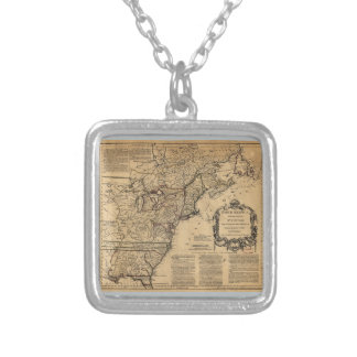 Map of North America by Jefferys & Anville (1755) Square Pendant Necklace