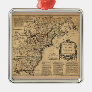 Map of North America by Jefferys & Anville (1755) Square Metal Christmas Ornament