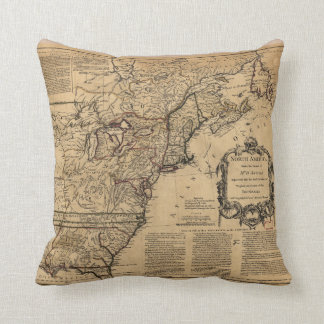 Map of North America by Jefferys & Anville (1755) Throw Pillow