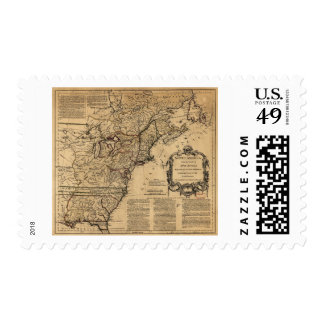 Map of North America by Jefferys & Anville (1755) Postage Stamps