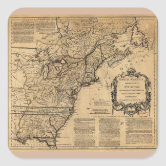 Map of North America by Jefferys & Anville (1755) Square Sticker