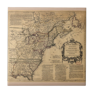 Map of North America by Jefferys & Anville (1755) Small Square Tile