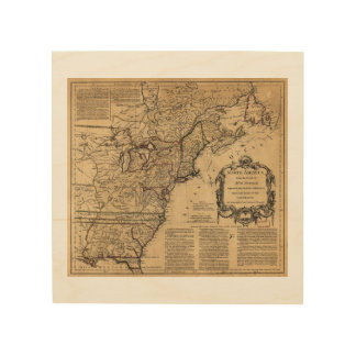 Map of North America by Jefferys & Anville (1755) Wood Wall Art