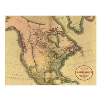 Map of North America by John Cary (1811) Postcard