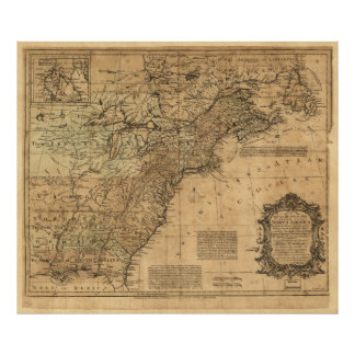 Map of North America by Thomas Kitchin (1755) Poster