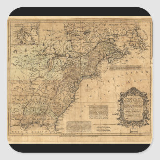 Map of North America by Thomas Kitchin (1755) Square Sticker
