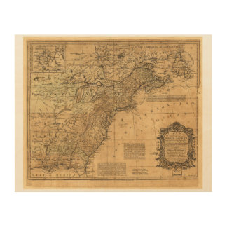 Map of North America by Thomas Kitchin (1755) Wood Wall Decor
