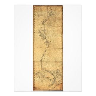 Map of North America Cape Cod to Havannah (1784) Letterhead