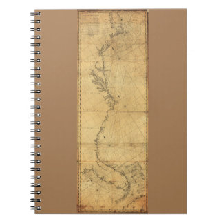 Map of North America Cape Cod to Havannah (1784) Notebook