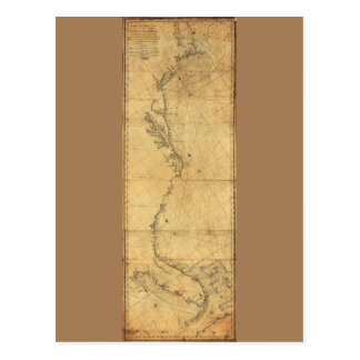Map of North America Cape Cod to Havannah (1784) Postcard