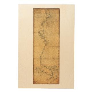 Map of North America Cape Cod to Havannah (1784) Wood Print