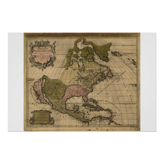 Map of North America dated 1694 Poster