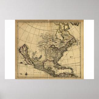 Map of North America, English, circa 1685 Poster