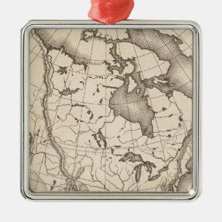 Map of North America Metal Ornament